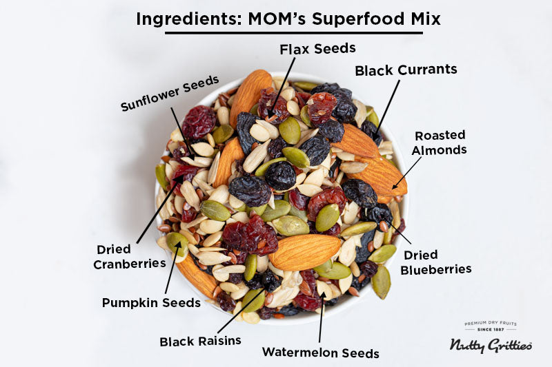 Mom's Superfood Trail Mix - Roasted Almonds, Pumpkin, Sunflower, Watermelon, Flax Seeds, Black Raisins, Black Currant, Cranberries and Blueberries - 400g ( Pack of 2, 200 g Each )