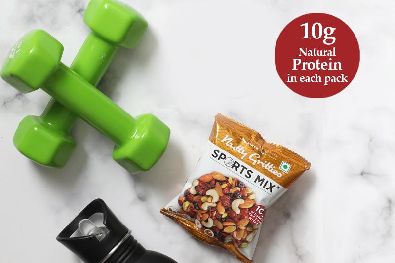 Nutty Gritties Sports Mix - Roasted Almonds, Cashews, Pistachios, Dried Blueberries, Cranberries and Raisins (Pack of 6 - Each 54g ) 324gms