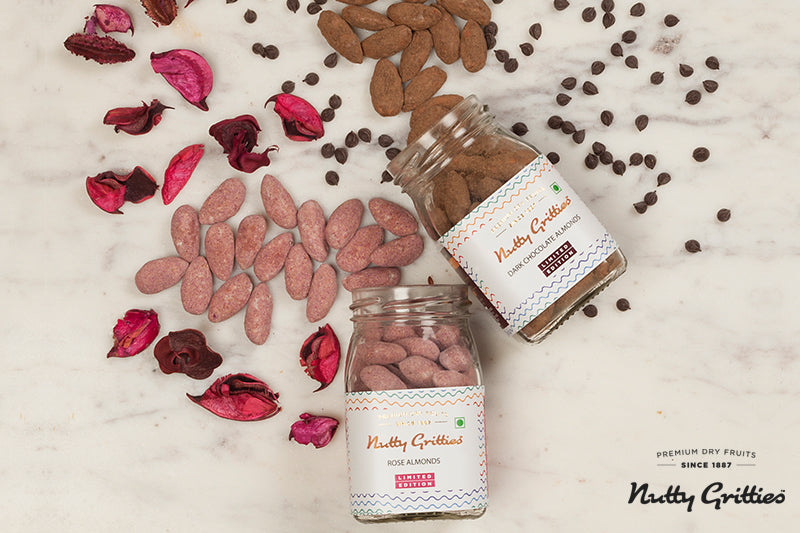 Valentine's Day Special Rose Almonds + Dark Chocolate Almonds -200g