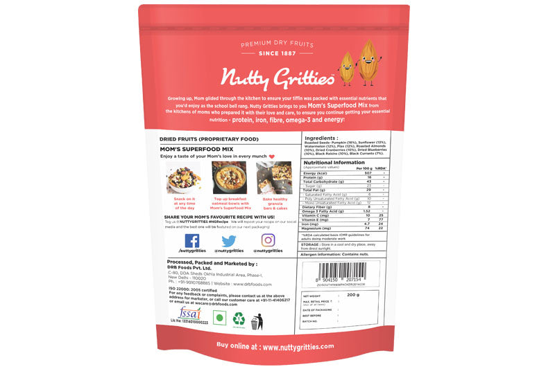 Mom's Superfood Trail Mix - Roasted Almonds, Pumpkin, Sunflower, Watermelon, Flax Seeds, Black Raisins, Black Currant, Cranberries and Blueberries - 1000g  (Pack of 5, 200 g Each )