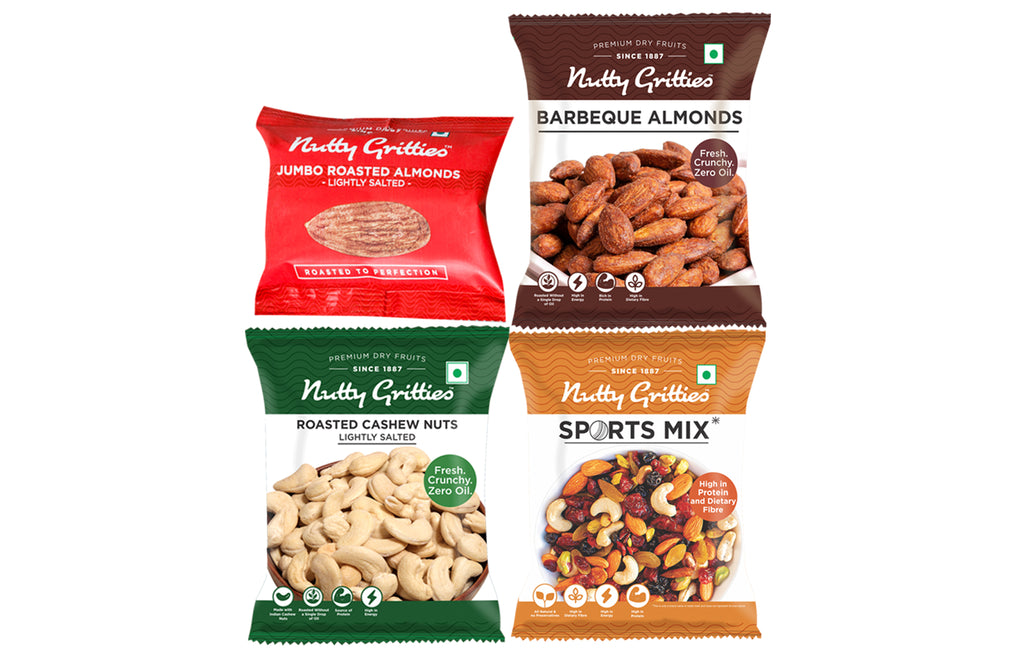Nutty Gritties Combo - Sports Mix 54g, BBQ Almonds 48g, Roasted Cashewnuts 48g,Roasted Almond lightly salted 24g *2 -198g ( Pack of 1 )
