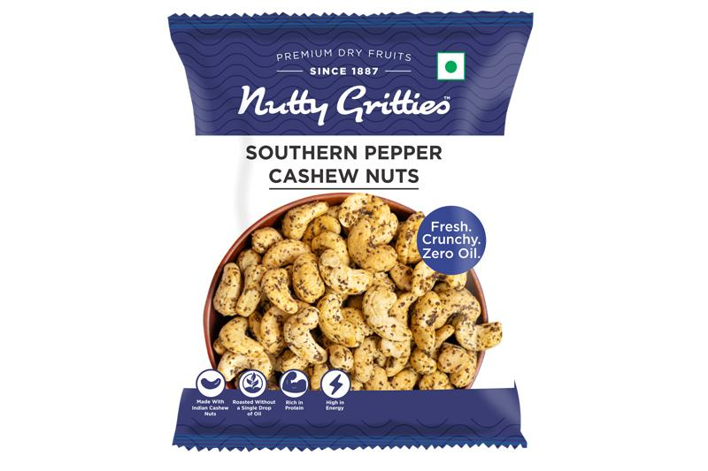 Nutty Gritties Southern Pepper Cashews | Cashewnuts, Dry Roasted, Non Fried, Zero Oil, - 84g ( Pack of 3 - Each 28g )