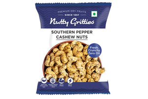 Nutty Gritties Southern Pepper Cashew Nuts - 288g ( Pack of 6 - Each 48g)