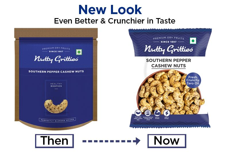 Nutty Gritties Southern Pepper Cashews | Cashewnuts, Dry Roasted, Non Fried, Zero Oil, - 168g ( Pack of 6 x 28g )