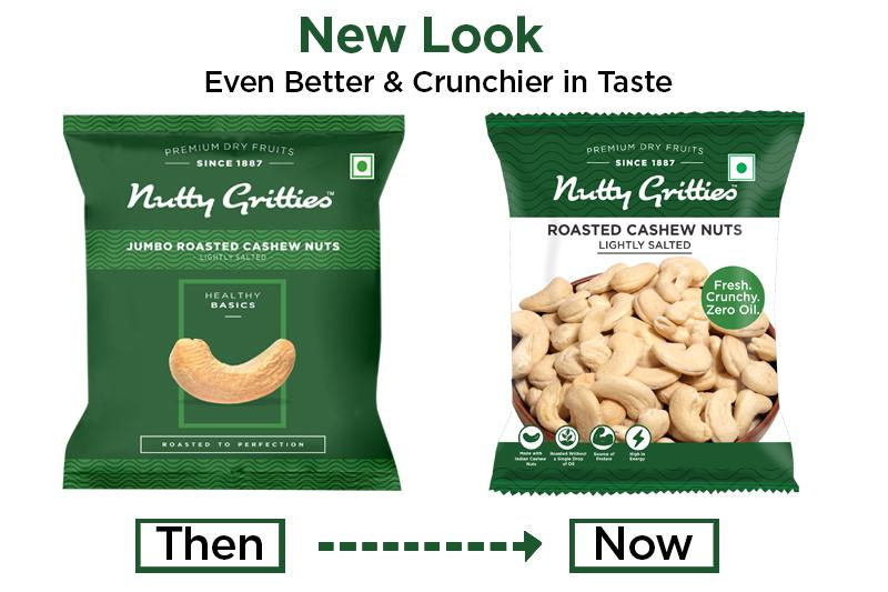 Nutty Gritties Roasted Cashews, Lightly Salted (Pack of 2-40g Each), 80GMS