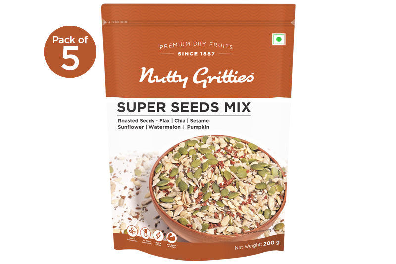 Super Seeds Mix for Eating - Roasted, No Salt, No Oil - Flax, Chia, Sesame, Sunflower, Watermelon, Pumpkin Seeds- 1 kg ( Pack of 5, 200 g Each )