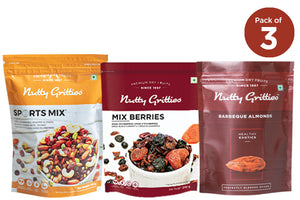 Nutty Gritties Combo -  Mix Berries 200 g, Sports Mix 350 g, Barbeque Jumbo California Almonds 500g 1.5 kg (  Pack of 3 )