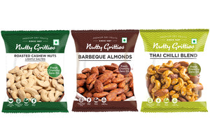 Nutty Gritties Roasted Cashewnuts lightly salted 48g, Thai Chilli Mix 54g, Barbeque Almonds 48g - 150g ( Pack of 1 )