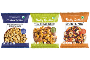 Nutty Gritties Sports Mix 54g, Pepper Cashewnuts 48g, Thai Chilli Mix 54g - 156g ( Pack of 1 )