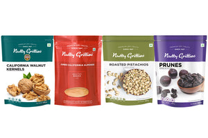 Nutty Gritties Combo - Roasted Pistachios 200 g, Jumbo California Almonds 500 g, California Walnut Kernels 200 g, Prunes 200g - 1.1 Kg ( Pack of 1 )