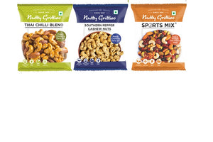 Pepper Cashewnuts 48g,Thai Chilli Mix 54g, Spicy Trail Mix 54g - 156g ( Pack of 1 )