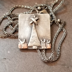 mixed metal Christmas tree pendant