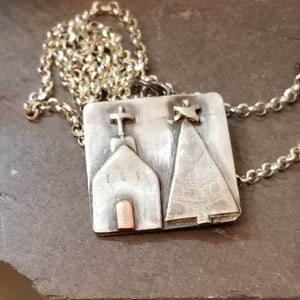 Christmas Church Pendant Necklace