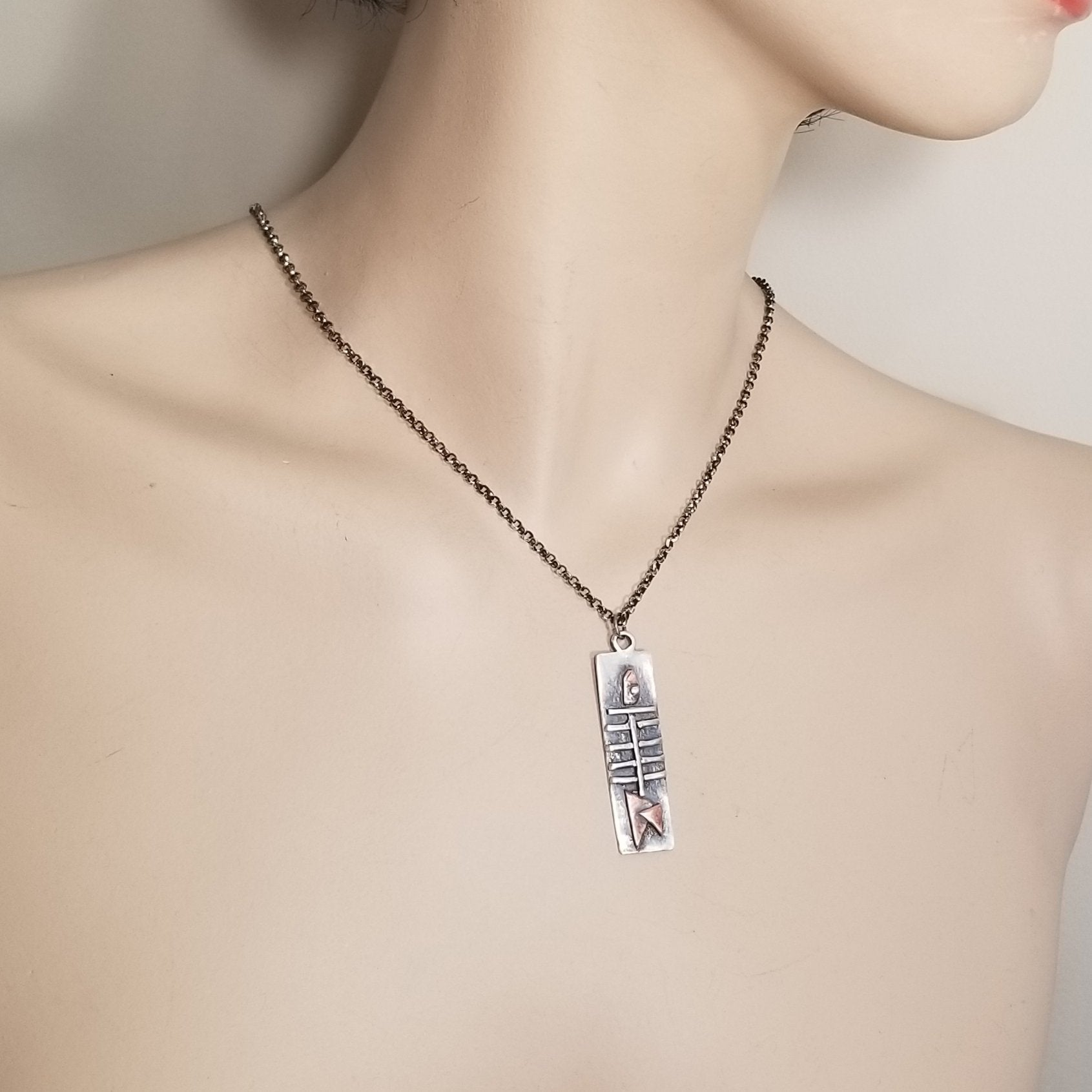 Bone Fish Necklace in Silver and Copper, Repurposed Jewelry