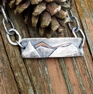 Mountains Bracelet in Sterling Silver and Copper