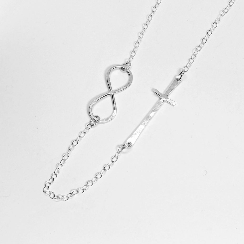 Fine Silver Infinity Cross Necklace