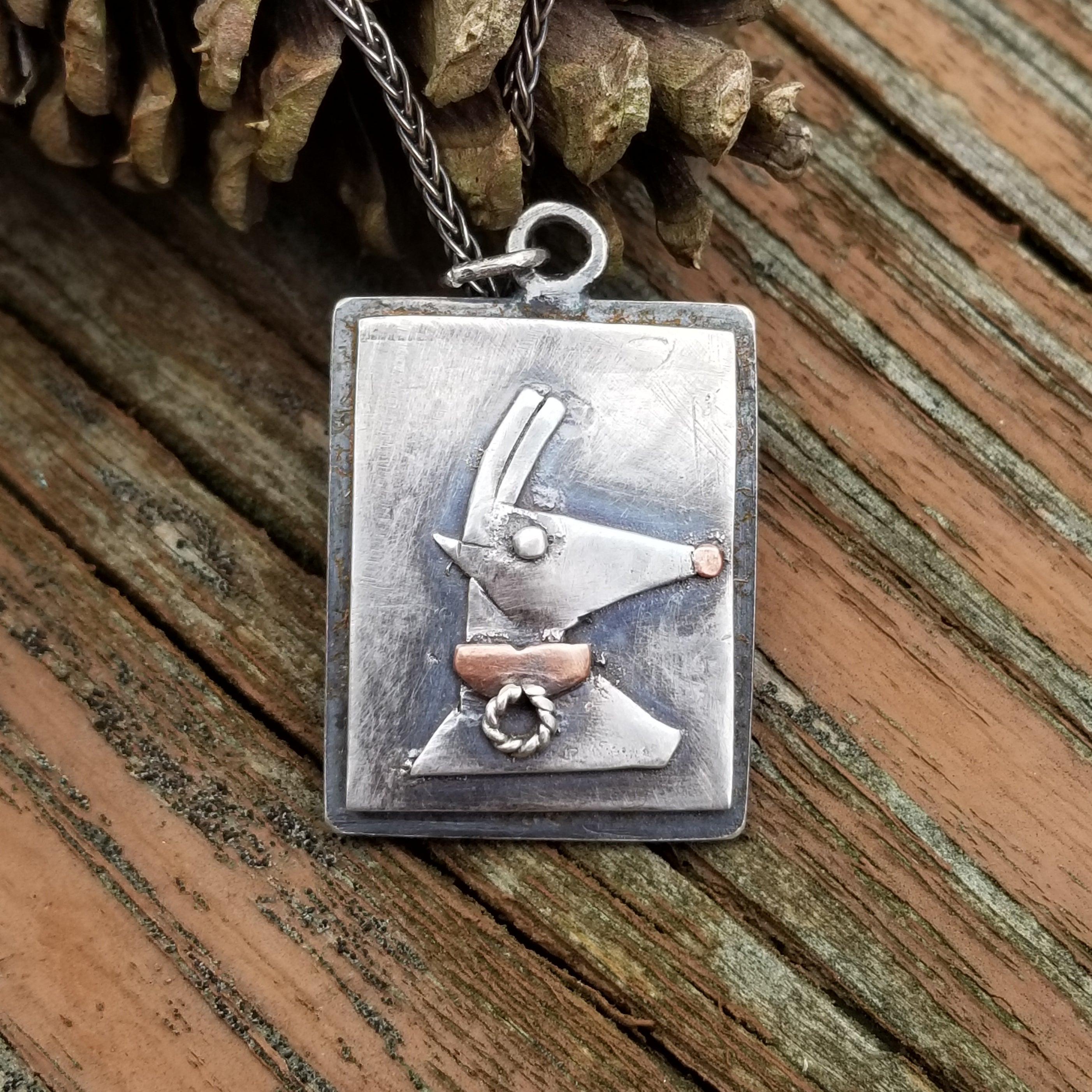 Christmas Reindeer Necklace in Sterling Silver and Copper, Repurposed Jewelry
