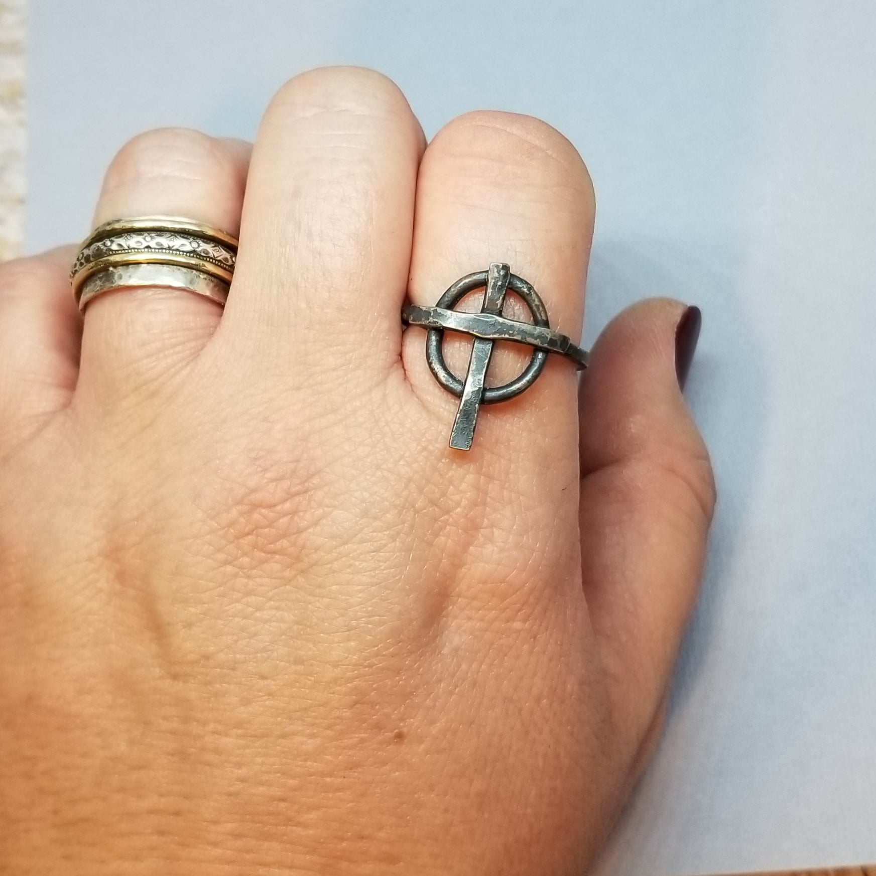 sterling silver celtic cross ring size 11