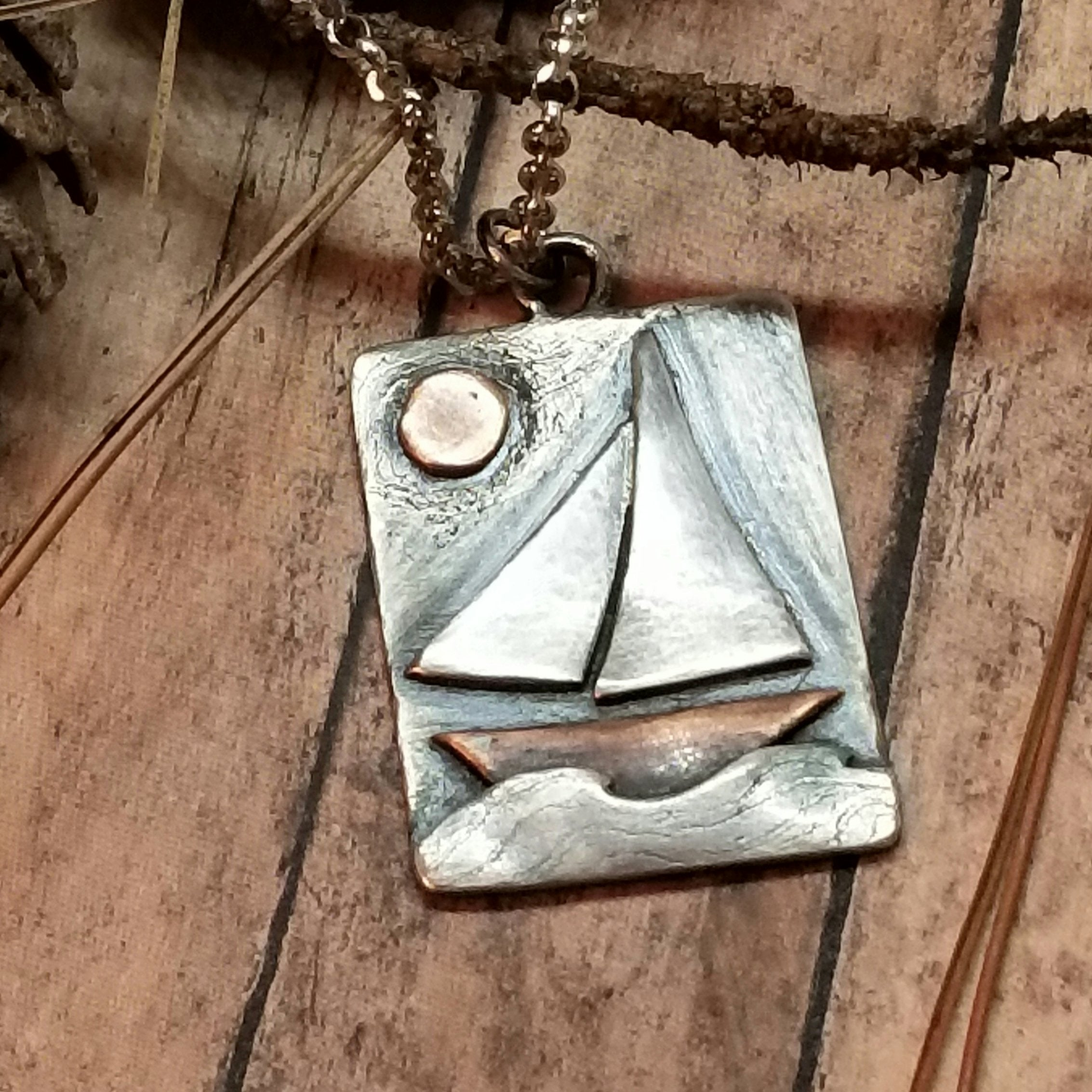 sailboat pendant necklace in oxidized sterling silver
