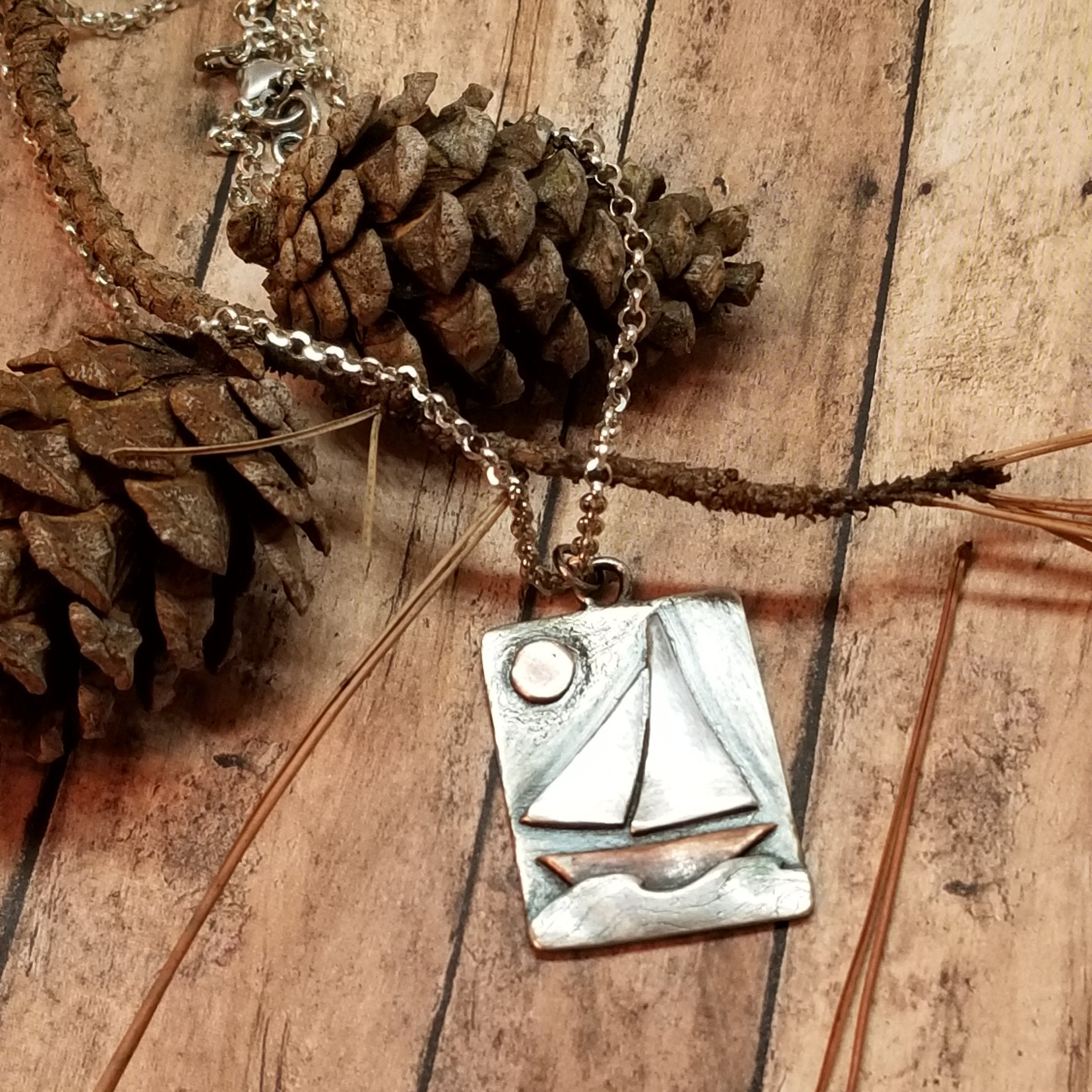 oxidized silver sailboat necklace