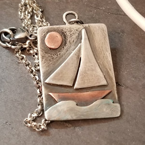 Sailboat Necklace in Oxidized Sterling Silver and Copper, Repurposed Artisan Jewelry