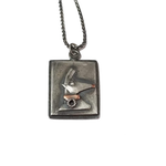Christmas Reindeer Pendant Necklace in Sterling Silver and Copper