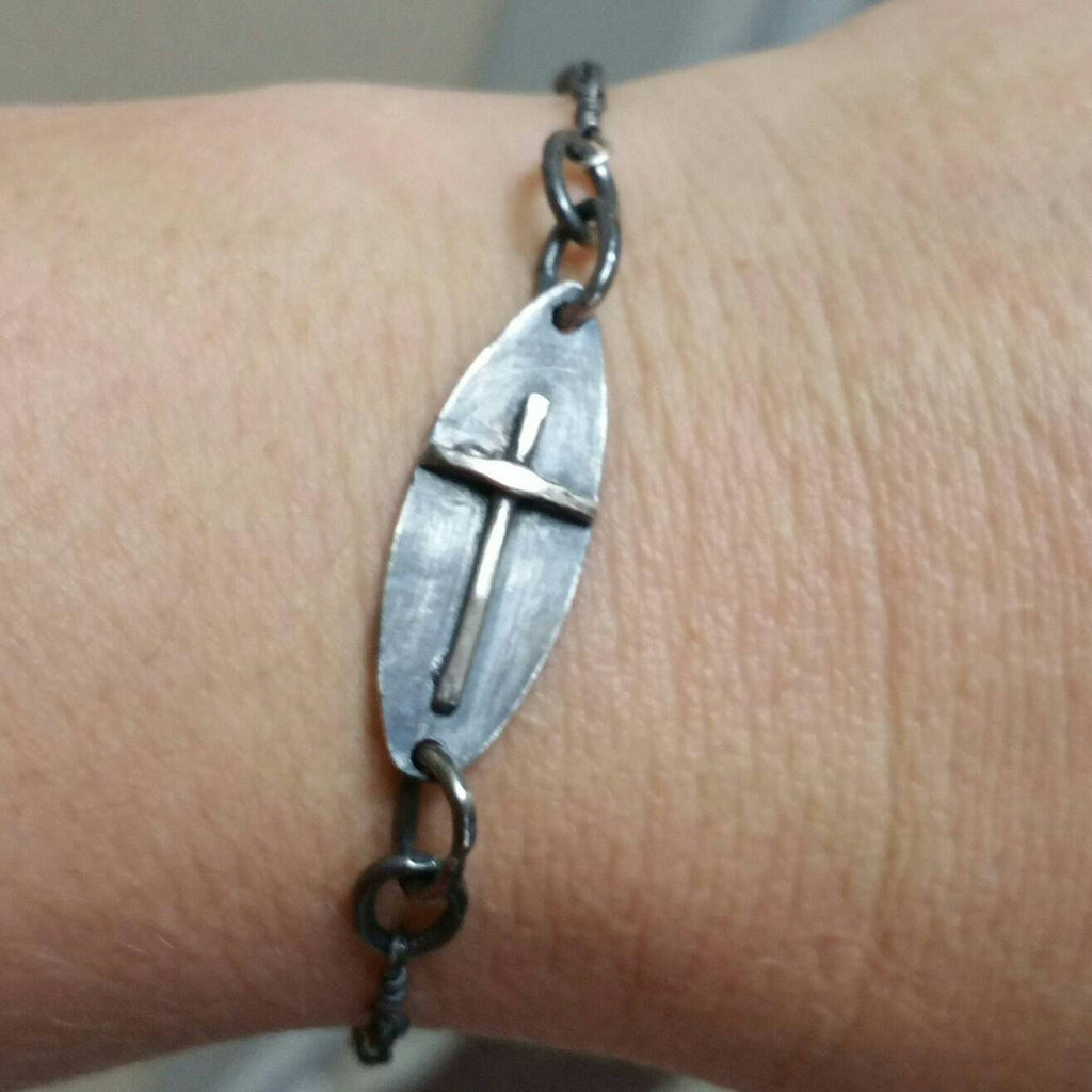 Surfboard Cross Bracelet Sterling Silver and Leather