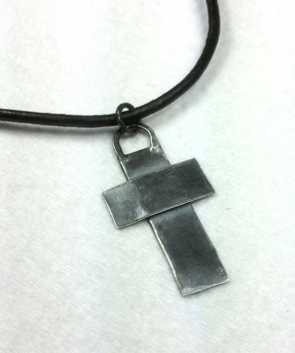 Sterling Silver Cross on Brown Leather for Men or Women, Rustic Jewelry
