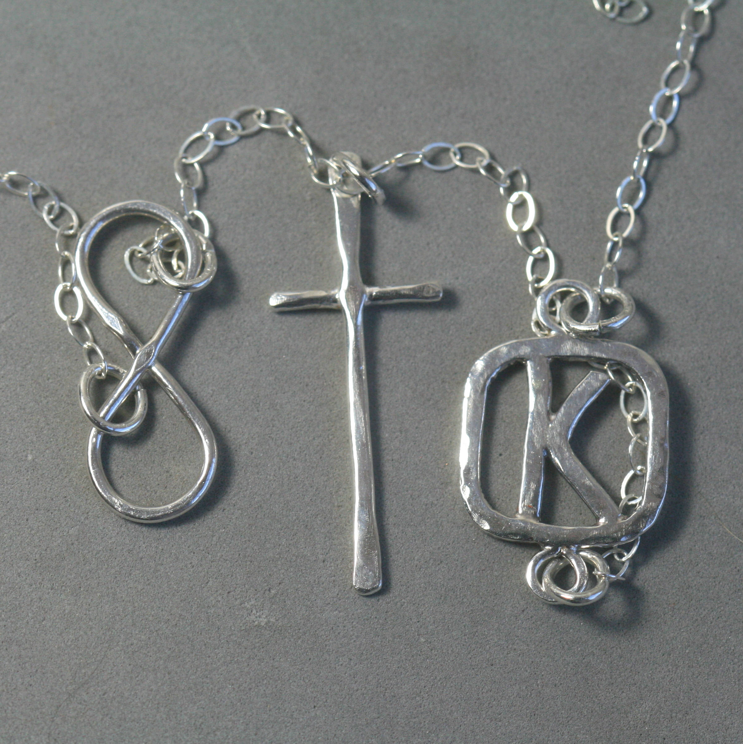 Sterling Silver Cross Necklace with the Letter K
