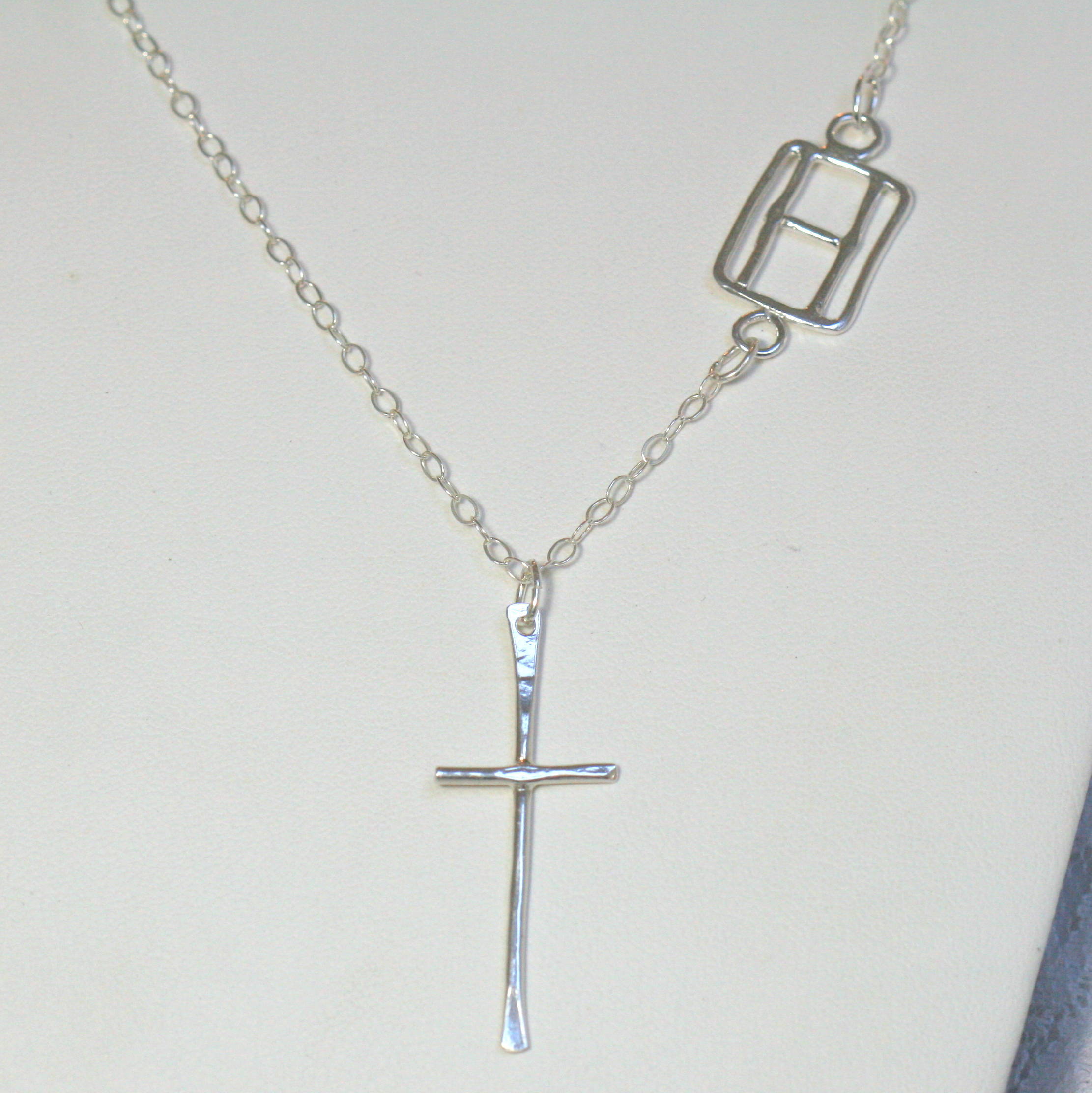 Sterling Silver Cross and Sideways Initial Necklace with the Letter H