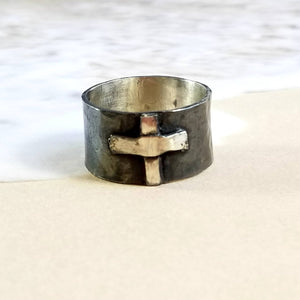 Wide Band Sterling Silver Cross Ring