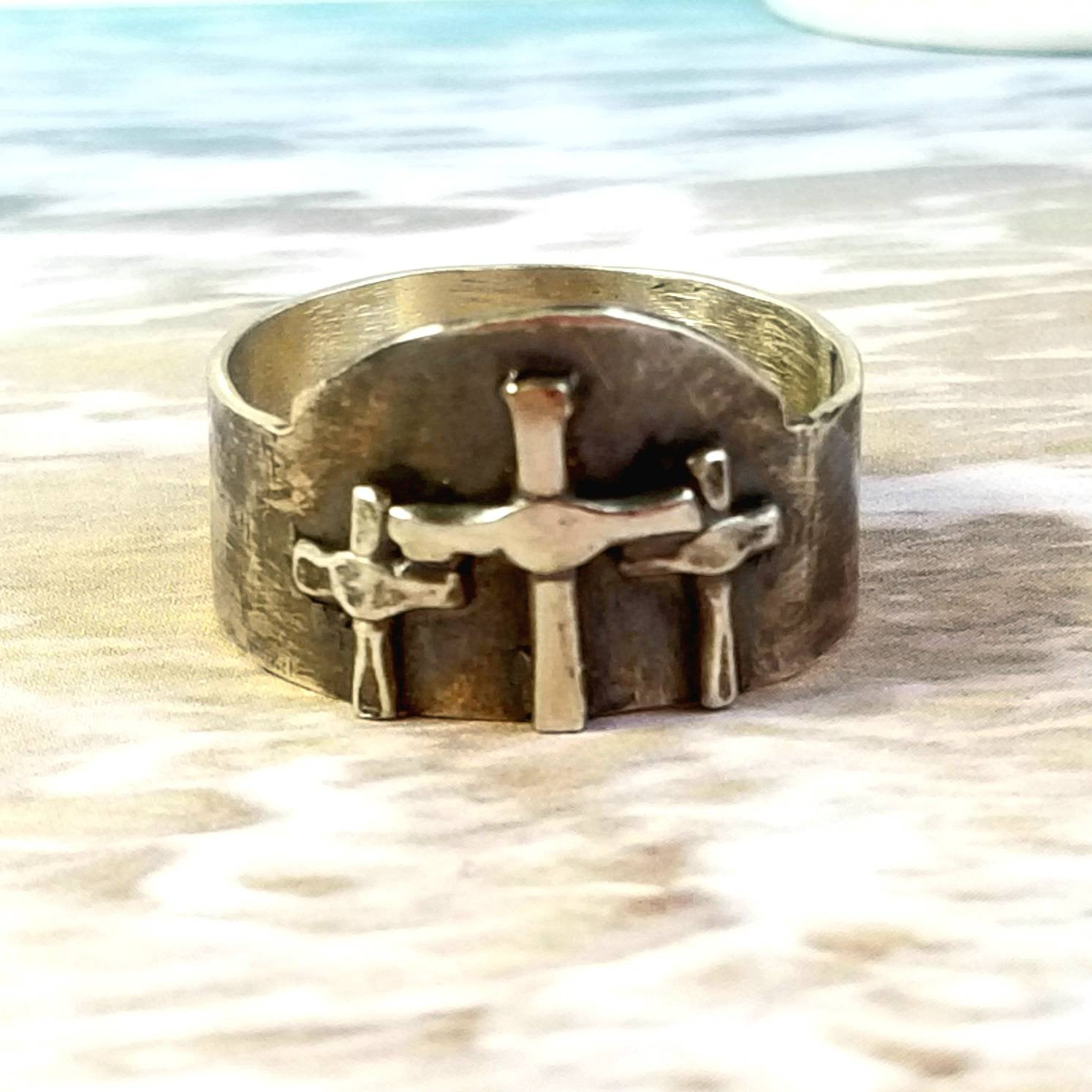 3 Crosses Ring in Blackened Sterling Silver
