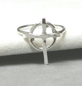 Handmade Fine Silver Celtic Cross Ring Size 5