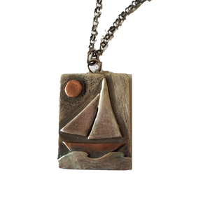 Sailboat Necklace in Sterling Silver and Copper, Repurposed Pendant