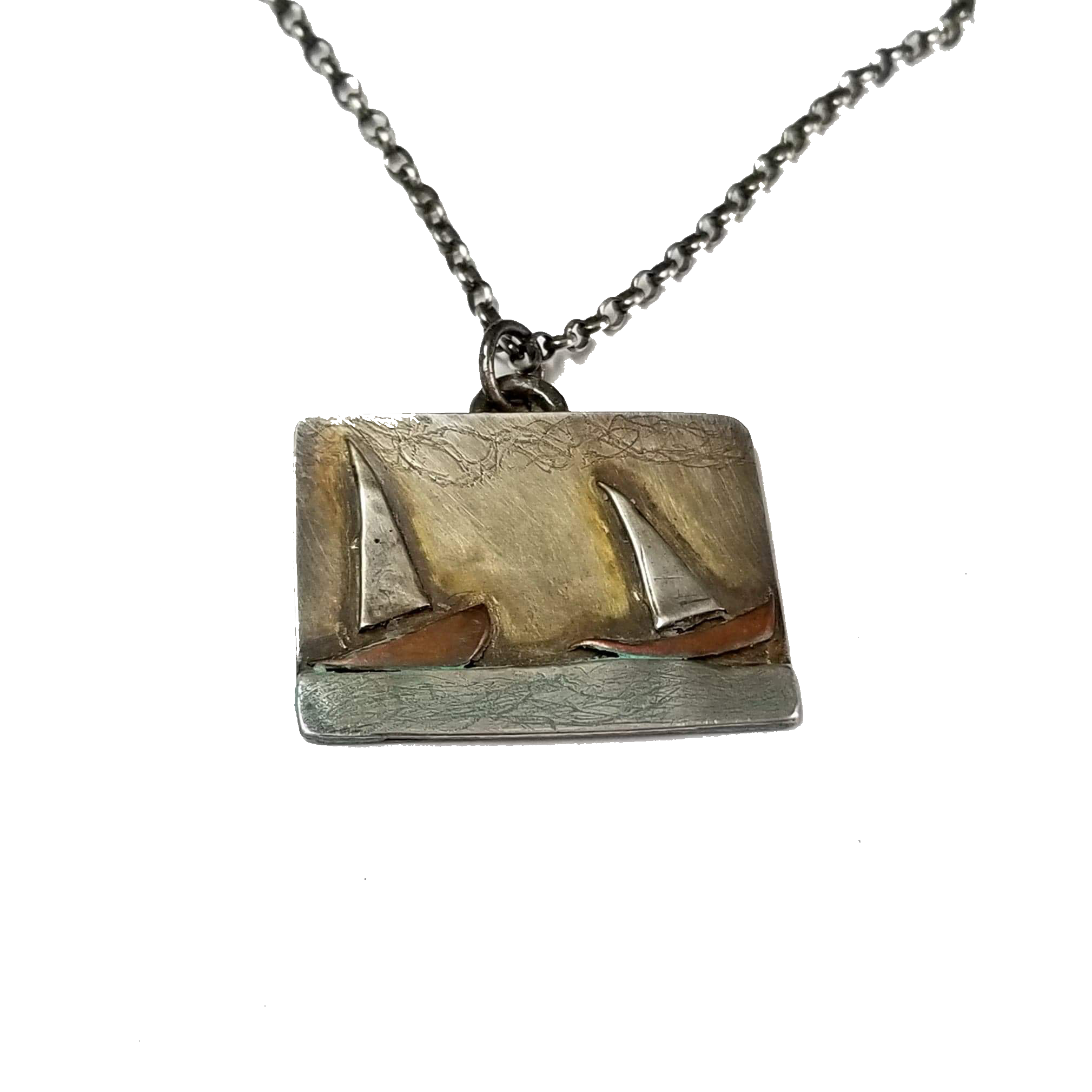 2 sailboats necklace