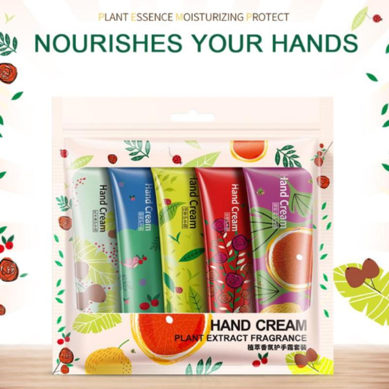 Plant Extract Fragrance Moisturizing Nourishing Hand Cream Suit 5 PCS