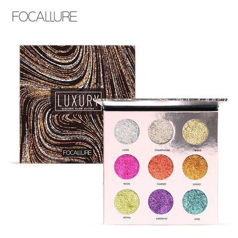 FOCALLURE Professional Luxury 9 Colors Bright Glitters Makeup Palette