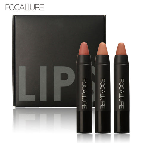 FOCALLURE 3Pcs-in-One Waterproof Nude Matte Lipstick - 3000 each