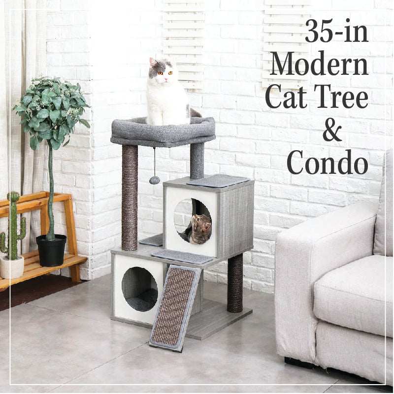 35-in Modern Cat Tree & Condo