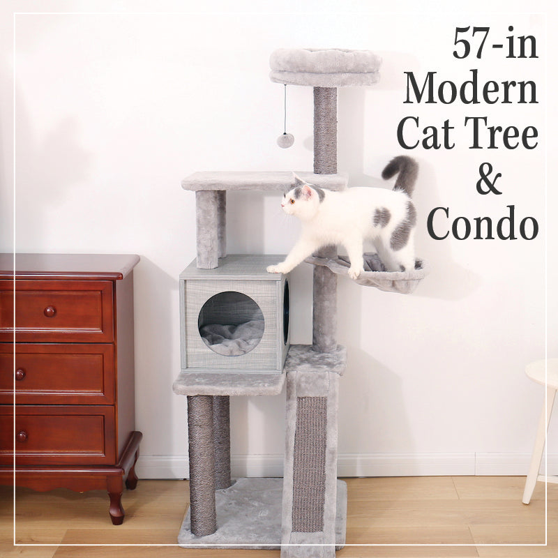 57-in Modern Cat Tree & Condo