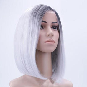 "12"" New Ombre Grey Synthetic Short Bob Straight Lace Front Wigs Hair Wig"