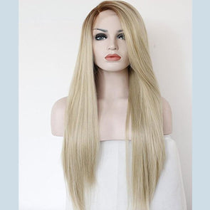 Fashion Ombre Blonde Glueless Lace Front Wigs 2 Tone Color Light Brown Roots