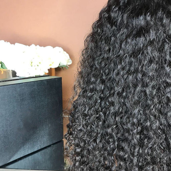Black curly long hair