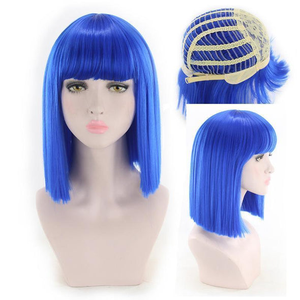 Women's  Short Bob Yaki Synthetic Full Hair Wig Heat Resistant Short Straight Wig