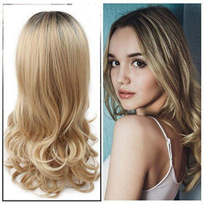 Ombre Wig Brown To Ash Blonde High Density Heat Resistant Synthetic Hair Weave Full Wigs For Women