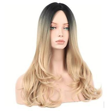 Long Wavy Black  Blonde Ombre Hair Wig