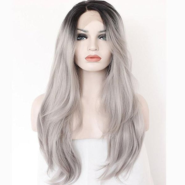 Dark Roots Long Natural Straight Silver Grey Replacement Hair Wigs