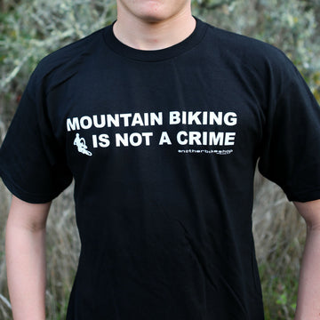 Mountain Biking is Not a Crime Tee, Black
