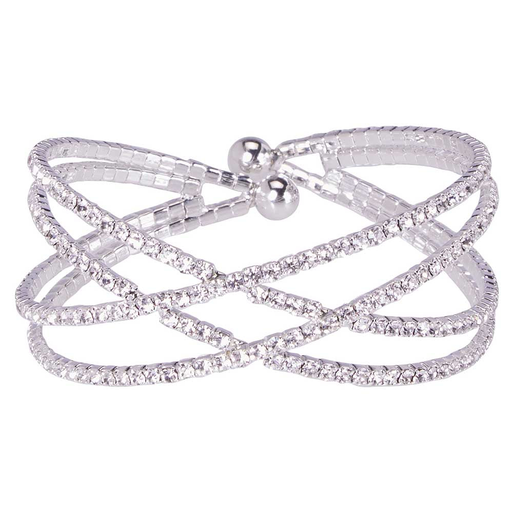 Atlantic Channel Set Crystal Cuff Crossover, Silver