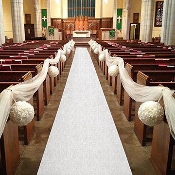 Aisle Runner- 75ft Polyester w/ Adhesive Strip, White